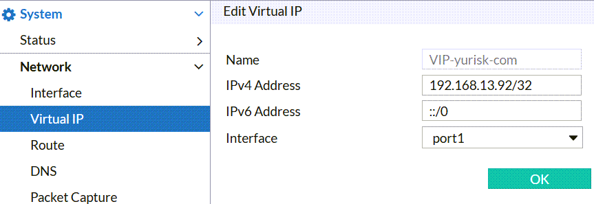 fortiweb basic setup create virtual ip