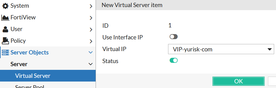 fortiweb basic setup create virtual server