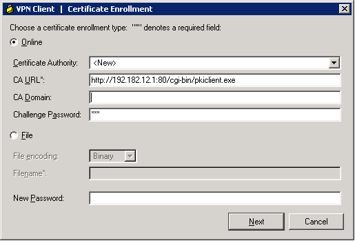 URL to use when enrolling with Cisco CA